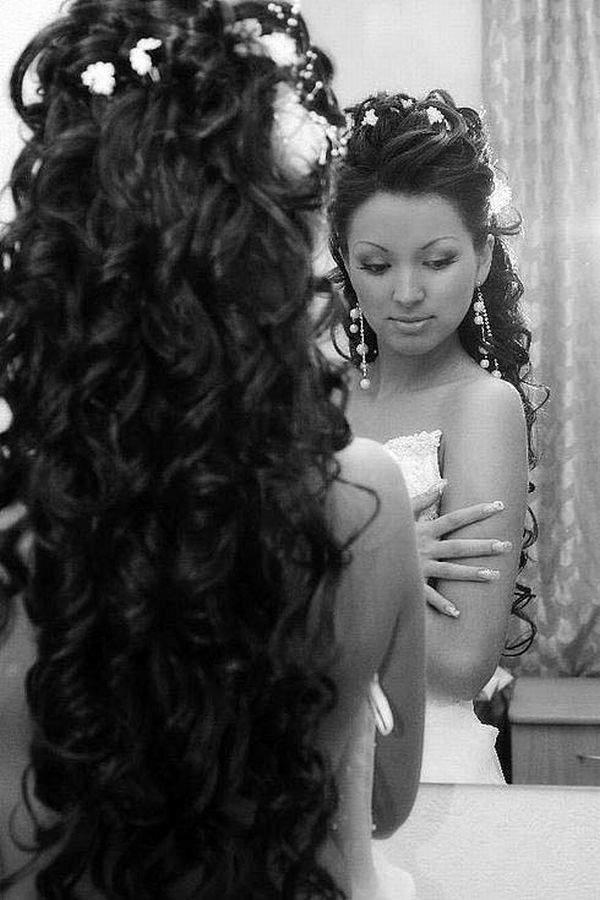 Красивые причёски для длинных волос на свадьбу фото